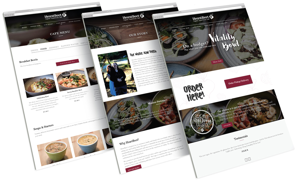 Heartbeet Web Design Mockup Three Screens